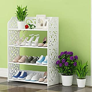 White Shoe Rack, Modern Carved 4 Tiers Shoe Cabinet Storage Rack Organiser Shelf Unit for Hallway Entryway, 40 x 23 x 71cm