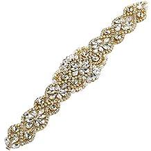 Applique del cinturón de la boda con las piedras cristalinas y las perlas en el oro de Rose / la base del oro para los marcos nupciales de DIY por costura o ...