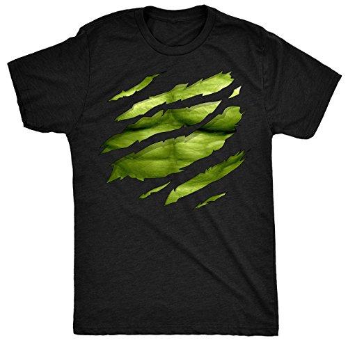 The Big Green Man Chest under torn Herren T Shirt - Schwarz - X-Large (Hulk Shirt Herren Für)