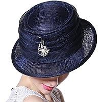 Yiwuhu El Sombrero aristocrático Temperamento del Banquete Sombrero Femenino del Visera del Viaje del Verano Femenino puramente a Mano. Simple