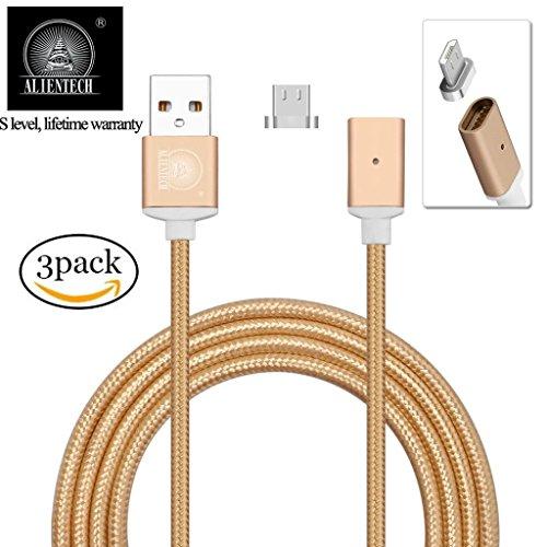 ALTech 3Pack Micro USB Gold Starke magnetische Nylon Geflochtene Lebenszeit Garantie Ladevorgang und Datenübertragung Sync Kabel mit LED-Indikator Bewerben für Android Samsung HTC LG Sony Motorola
