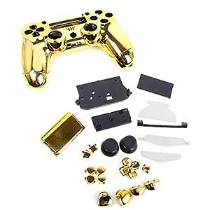Metall Plated Schutzhülle Gehäuse Case mit Button f.Sony PS4 Controller Gold
