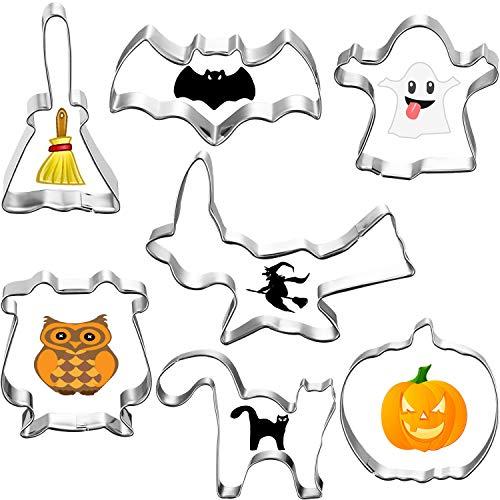 Características del video:   Diseño del tema de Halloween:  Estos cortadores de galletas están diseñados con elementos clásicos y tradicionales de Halloween, incluyen calabaza, murciélago, gato, brujas, fantasmas, búhos, escobas, conveniente para cr...