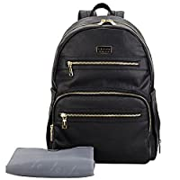Lekebaby Faux Leather Nappy Bag Baby Changing Backpacks with Changing Pad and Stroller Clip, Water-proof and Scratch-resistant, Black