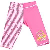 Jakabel Surfit Combinaison de dauphin rayé Short de bain UV50+ 7 ans rose/blanc