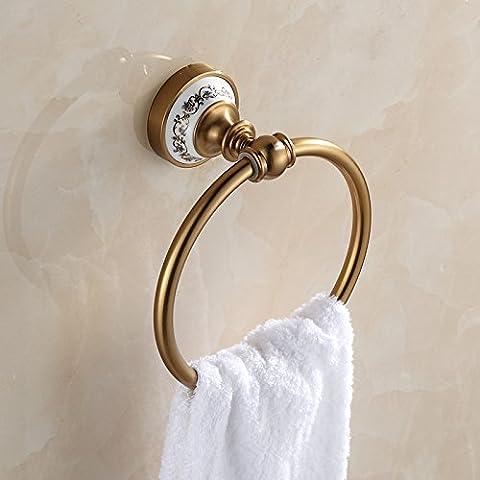 SDKIR-Continental Aluminium bronze - wie Zeichnung im Raum Handtücher Bad Hardware Zubehör kreisförmigen Ring vintage Handtuch Ring hängen
