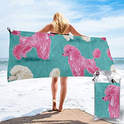 Fun Life Art Fast Quick Dry Towel,Sports & Beach Towel.Custom Hot Pink and White Poodles On Medium Teal Suitable for Camping, Gym, Yoga,Swimming,Travel,Hiking,Backpacking. (Teal Dusche Mat)