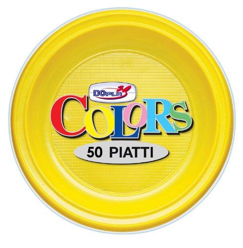 GIRM® - S01661 - Piattini da frutta di plastica Gialli 50 pezzi, piatti monouso per feste, piatti di plastica monouso, piatti piani colorati.
