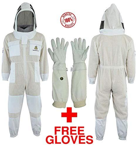 Bee Suit Fencing 3-lagige mit kostenlosen Handschuhen Ultra belüftete Sicherheit Schutz Unisex Weiß Stoff Mesh Bienenzucht Anzug Imker Outfit Fechten Schleier (L)