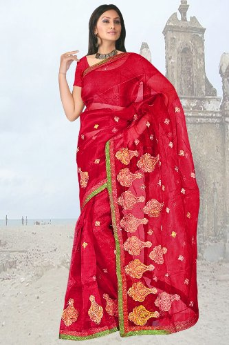 Blood Red resham embroidery plain super net jacquard sarees