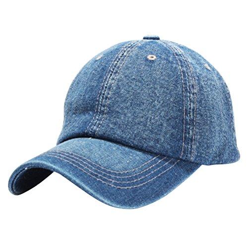 Preisvergleich Produktbild VORCOOL Baseballkappe Baseballmütze Denim Hut Hip Hop Kappe Verstellbar für Vatertag Damen Herrn Jungen MädchenBlau