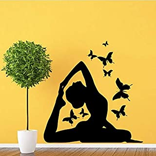 haochenli188 Yoga Haltung Wandkunst Aufkleber Schmetterling Wanddekoration Vinyl Aufkleber Kindergarten Gym Sport Yoga Center Adesiv 55x57cm