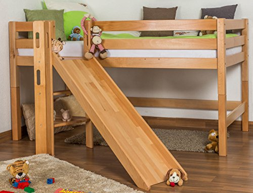 bed loft bunk bed samuel solid natural beech wood includes slide includes rollup grille 90 x 200 cm