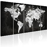 decomonkey | Bilder Weltkarte 200x80 cm 5 Teilig | Leinwandbilder Weltkarte | Vlies Leinwand | WandBilder Weltkarte | Wand | Bild aud Leinwand | Wandbild | Kunstdruck | Wanddeko Welt Karte Kontinente Landkarte DKA0105a5M