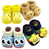 BabyGo Pack of 4 pairs Cartoon Baby Booties Socks Slippers 0-6 Months (Boy Designs)