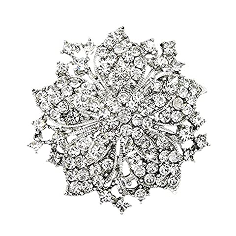 Shiny Color Cluster Rhinestones Flower Blossom Brooches Pin Decor