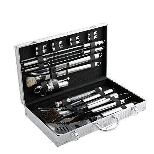 CampFeuer Edelstahl Grillbesteck Set, mit Aluminiumkoffer, Barbeque Grillkoffer, BBQ Besteckset ideal zum Grillen, mit Grillgabel, Grillzange, Bratenwender und mehr (20-teilig)