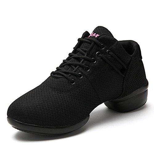 Kotzeb Modern Ballo Danza Scarpe da Walking Gym Atletiche Sportivi Sneakers per Donna Hip Hop Nero...