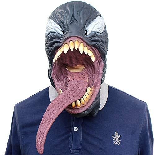 (QQWE Venom Spider-Man Cosplay Maske Schwarz Spider Man Maske Lange Zunge Maske Latex Kopfbedeckungen Halloween Weihnachten Film Kostüm Requisiten,Picturecolor)