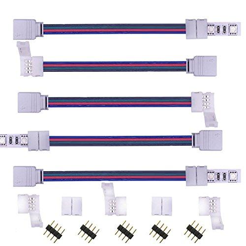 Kabenjee RGB LED Lichtstreifen Schnellverbinder,4 polig 10mm Breite Eckverbinder,LED Stripe Verbinder Verteiler Adapter Verbindungskabel,RGB Layout Anschlusskabel,Ohne Löten Steckverbinder