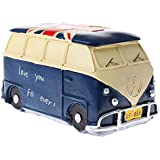 NF&E Vintage Bus Money Saving Bank Handcraft Kid Piggy Bank Home Office Decor Blue