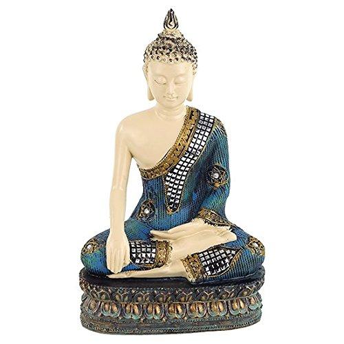 Statua Buddha h 32 x 20 x 15 poliresina con intarsio a mosaico a specchio meditazione con mano sulla terra in benedizione