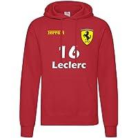 """Felpa con cappuccio Ferrari Formula Uno""""16 Leclerc""""""""55 Sainz"""" F1 2021 Inspired"""