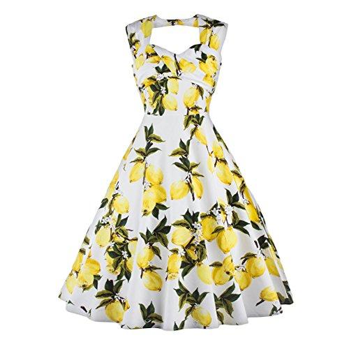YAZACO Damen 50er Vintage Floral Ohne Arm Kleid Dekolletiert Cocktailkleid  Faltenrock Abendkleider Partykleid Floral 02
