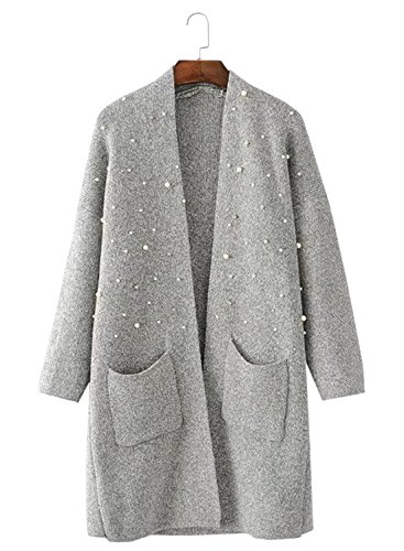 Futurino Damen Perlen Open Front Marled Strickjacke Pullover mit Taschen