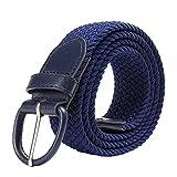 YNZSA Cinturón elástico de lona para niña, cinturón simple a juego europeo y americano, zafiro, 110 cm