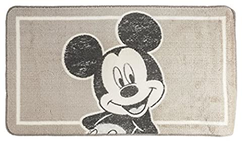 Disney Mickey Mouse Soft Non Slip Rubber Backed Childrens Bath Mat Rectangular 85cm x 50cm/20 x 33.5 Washable Kids Bathroom Rug Neutral Taupe by Disney