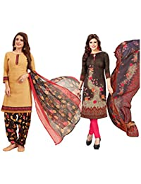 Ishin Combo Of 2 Synthetic Multicolor Printed Women's Salwar Suit Dress Material With Dupatta