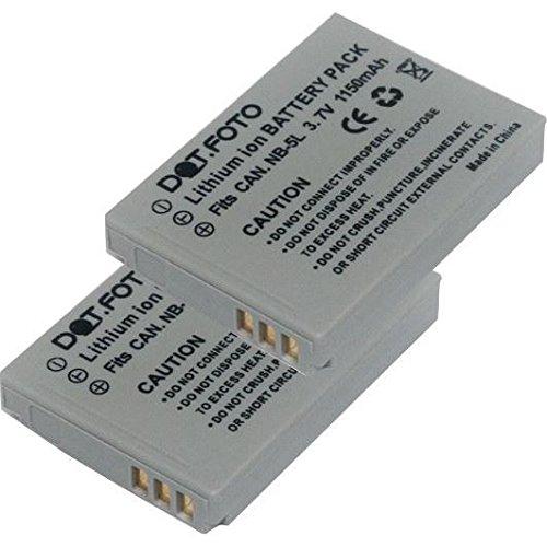 2 x Dot.Foto Batterie de qualité pour Canon NB-5L - 1150mAh / 3,7v - garantie de 2 ans - Canon Digital IXUS 90 IS, 800 IS, 850 IS, 860 IS, 870 IS, 900 Ti, 950 IS, 960 IS, IXUS 970 IS, 980 IS, 990 IS / PowerShot S100, S110, SX200 IS, SX210 IS, SX220 HS, SX230 HS