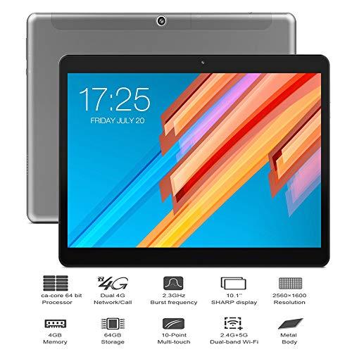 Fuibo Tablet PC (10,1 Zoll HD Teclast M20 4 GB RAM, 64 GB ROM, Dual 4G-Telefontabletten Dual WiFi PC, 2560×1600 px Auflösung, Android 8.0 Tablets (Grau) -