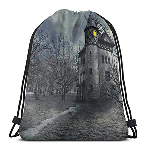 e Bag Gym Bags Storage Backpack, Halloween Design with Gothic Haunted House Dark Sky and Leafless Trees Spooky Theme,Very Strong Premium Quality Gym Bag for Adults & Children ()