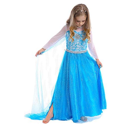 D'amelie Eiskönigin Prinzessin Kostüm Kinder Glanz Kleid Mädchen Weihnachten Verkleidung Karneval Party Halloween Fest (150, A)