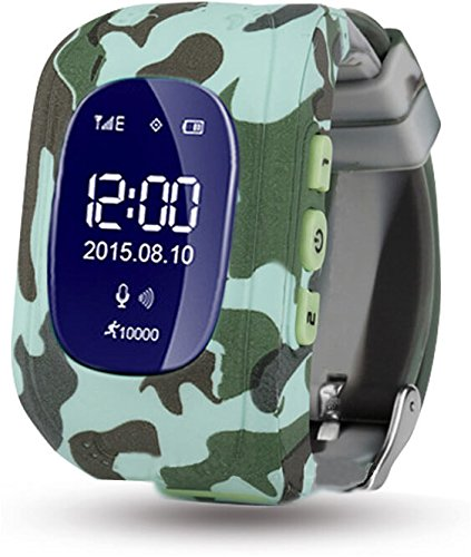 ELEPAIO TM Kids Baby Tracker LED Display (Version-2018) Kid Smart Wrist Band Child Safety, SOS Calls, Anti-Lost for Tracking (Camouflage)