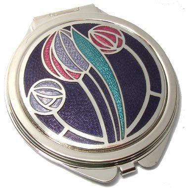Compact Spiegel-Rennie Mackintosh Tulip & Rose Design-Lila/Fuchsia/Lila/Aqua -