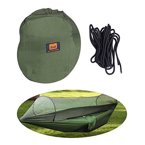 Amaca con zanzariera portatile ad alta resistenza paracadute tessuto Hanging letto per campeggio esterno altalena in albero cinghie