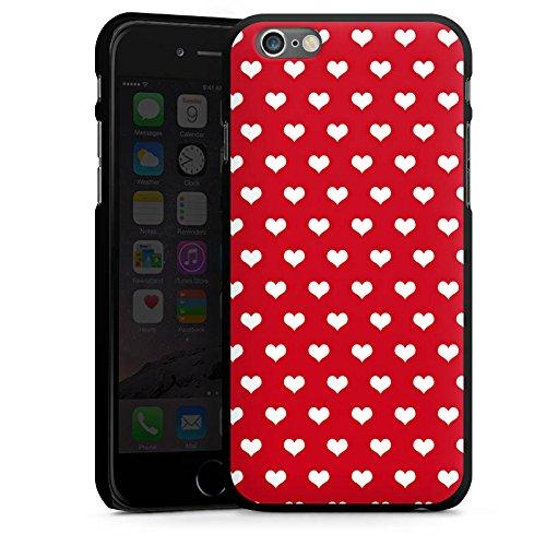 Apple iPhone 5s Housse Étui Protection Coque Petit c½ur Polka c½urs Rouge CasDur noir