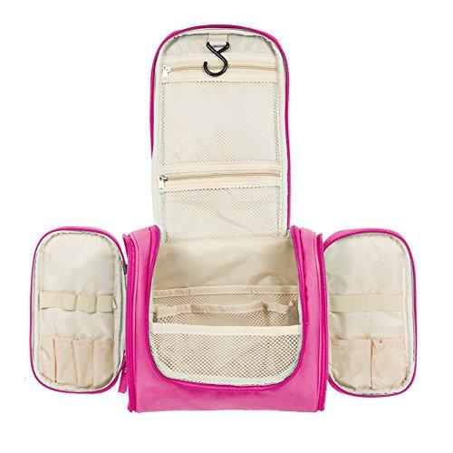 Aedo beauty case viaggio donna borsa da toilette appendibile con gancio borsetta da viaggio impermeabile borsa per cosmetici (pink)