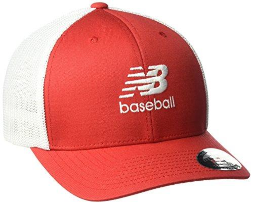 New Balance geschwungene Krempe 6Panel Trucker Baseball, Unisex, Rot - Team Red
