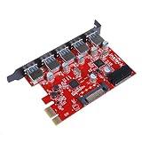 Inateck KTU3FR-5O2I - USB 3.0 expansion card (5 ports), black and red