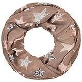 Intermoda Sterne Loop Schlauchschal I Loop Schal mit Sterne Muster im Farbmix, Tuch, Damen, Beige Taupe
