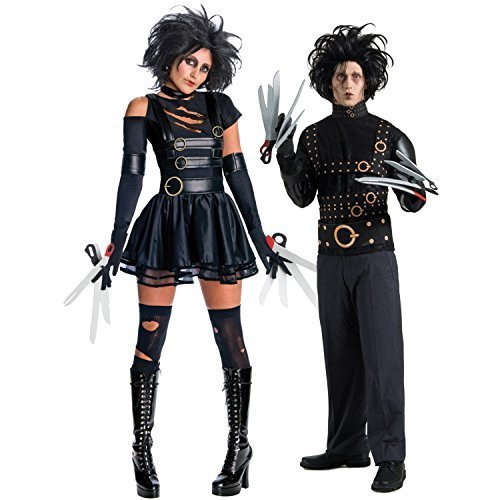 Paar Kostüm Mr & Mrs Edward Mit Den Scherenhänden Halloween Party Verkleidung Outfit - Schwarz, Ladies UK 8-10 Mens (Handschuhe Scherenhänden Mit Edward Den Kostüm)