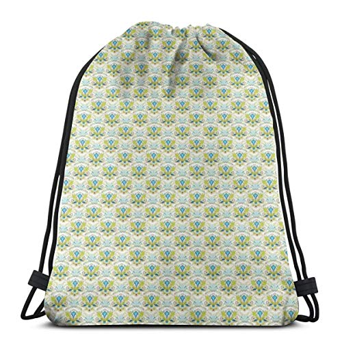 4d40e51d2274 Jiger Drawstring Tote Bag Gym Bags Storage Backpack, Floral Pattern with  Abstract Swirls and Leaves Classical Timeless Motifs,Very Strong Premium ...