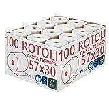 Confezione 100 Rotoli Termici mm 57x30 mt Omologati per Registratore di Cassa Carta Termica 1^ Qualità