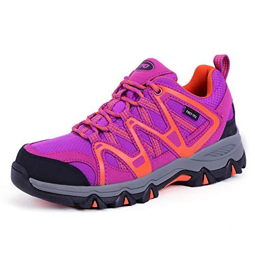 TFO Damen wasserdichte Trekkingschuhe & Wanderschuhe Atmungsaktive und Leichte Bergschuhe & Outdoor Schuhe mit Gedämpfte Sohle, Violett/Orange, 39 EU