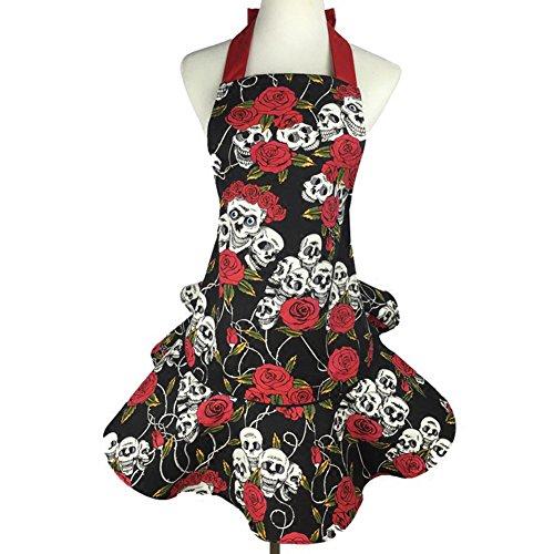 LianLe Mujer Calavera y rosas falda lienzo delantal de la cocina con Halter Tie con bolsillo