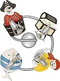 Kinderzimmer Lampe/Rot, Orange, Blau / 4-flammig / E14 bis 40W 230V / Holz & Kunststoff/Holzlampe / Lampe Pirat Motiv/Leuchte Kinder/Kinderzimmerlampe rosa/Kinderleuchten / Leuchte Pirat